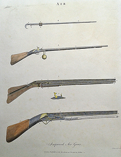 Antique engraving of Air Guns