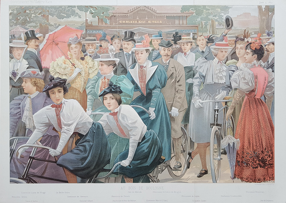 Cycling in Hyde Park Original Vanity Fair  Print for sale 1896