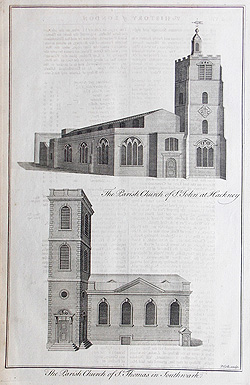 London Church antique prints