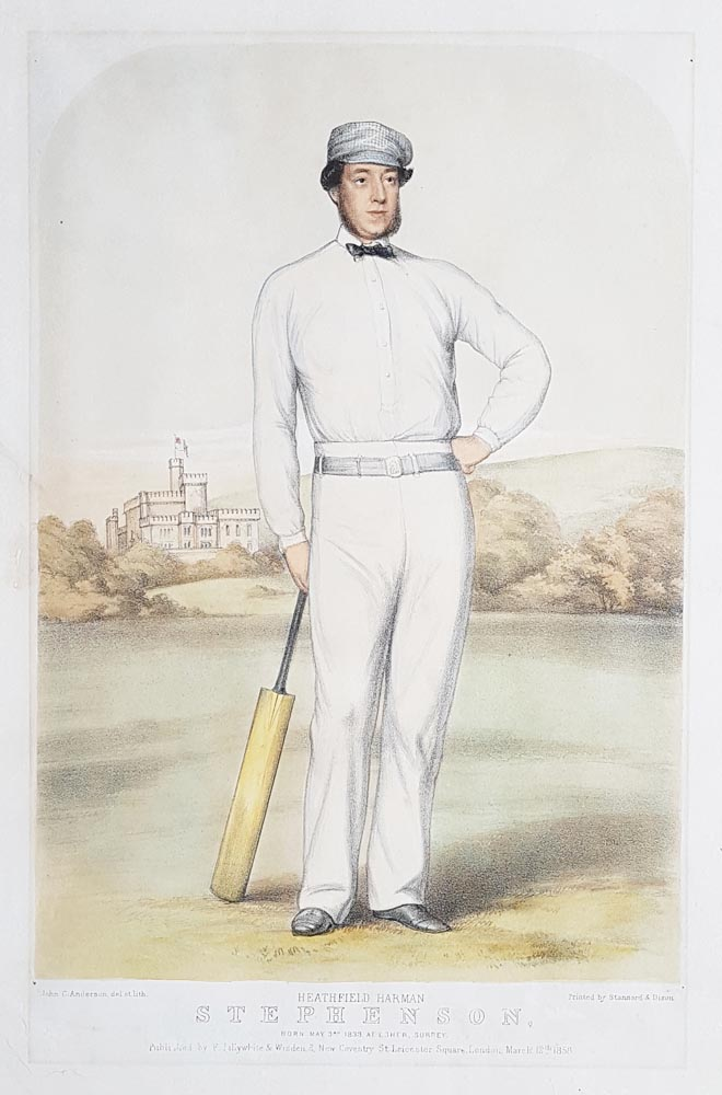 Victorian Cricketer Lithograph -  Heathfield Harman Stephenson  1858