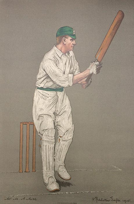M A Noble Original Chevallier Tayler Cricket Print 1905
