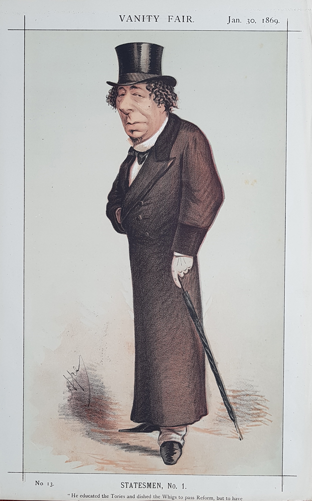 Original Vanity Fair Spy Print of Disraeli 1869 for sale