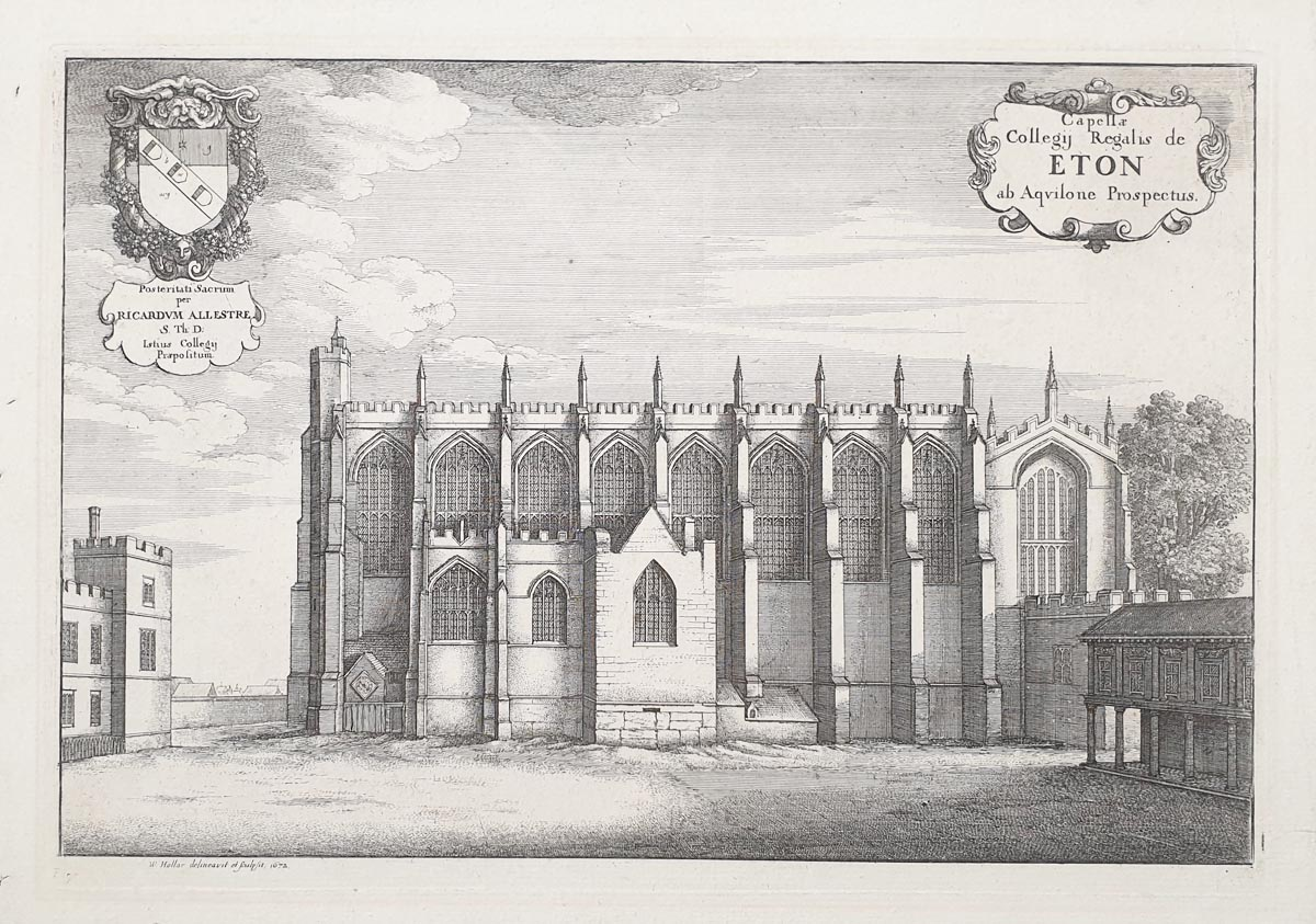 Eton College Chapel engraving by Hollar for sale