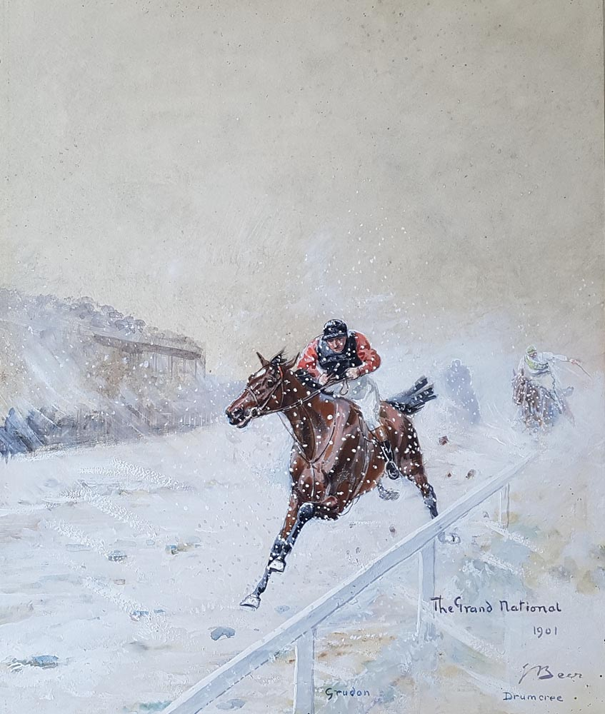 The Grand National 1901 original paitning by John Beer for sale