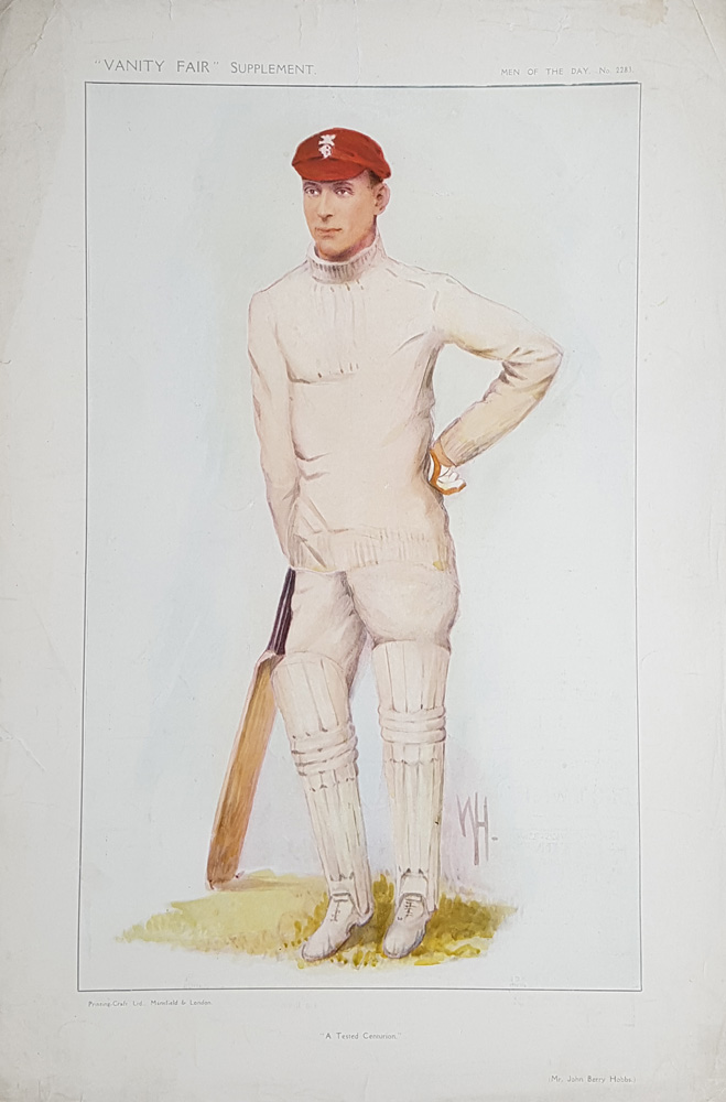 Jack Hobbs Original Vanity Fair Cricketer Print for sale