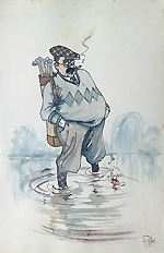 old golf caricature