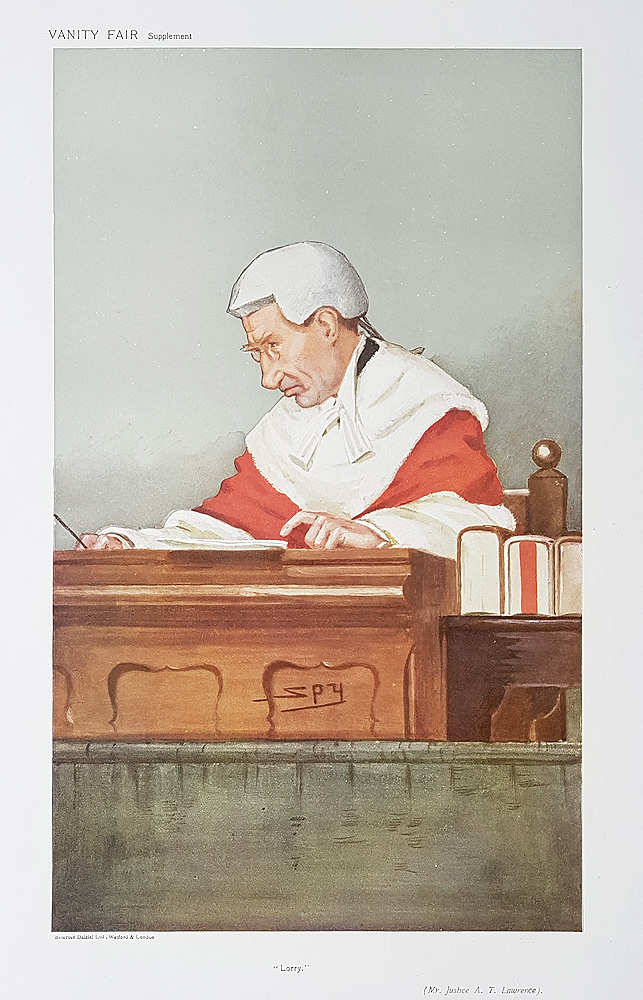 The Hon Justice  Lawrence  Vanity Fair Red Robe Judge print for sale