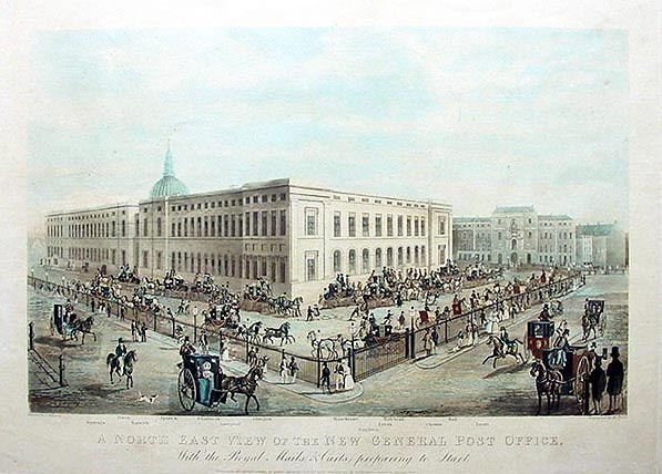 Antique Aquatint of the London Post Office by Henry Pyal and James Pollard 1832