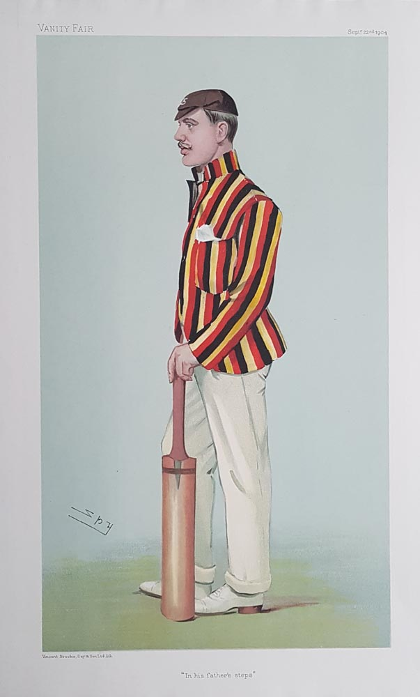 Spy Cricket Print Lord Dalmeny In His Fathers Steps 1904
