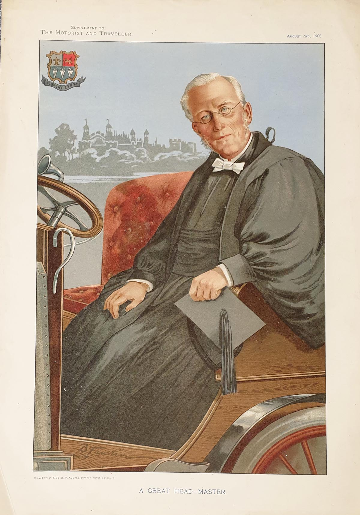 Original Motorist and Traveller Print for sale Headmaster Eton College