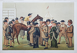 Newmarket 1885 doublr page vanity fair horse racing print for sale
