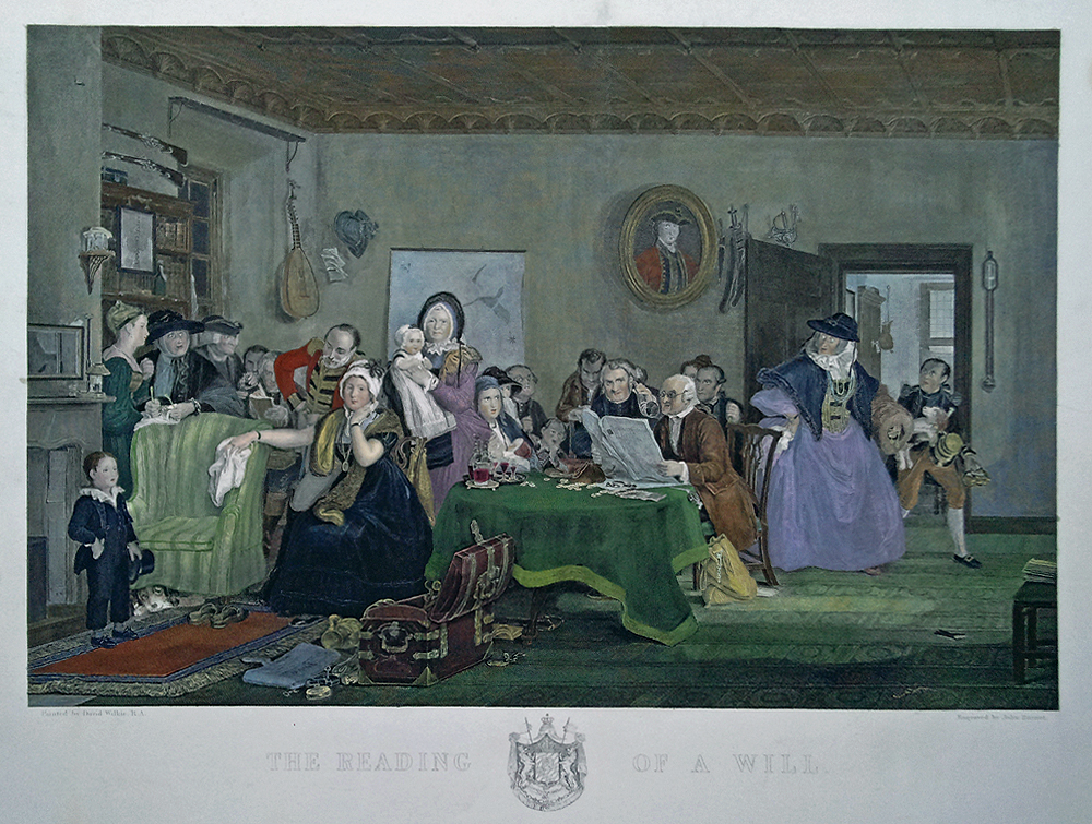 Wilkie engraving - Reading of a Will