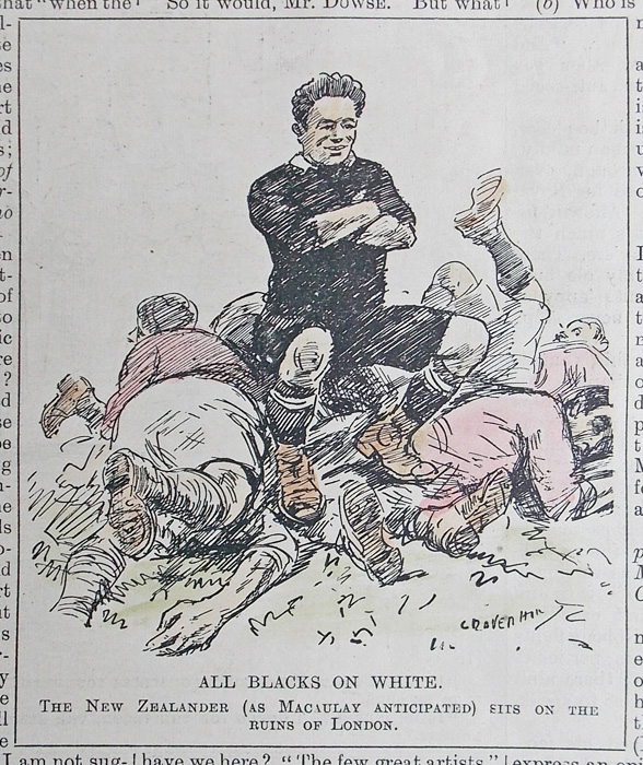 Punch All Blacks Rugby Cartoon Dated 1924 Hand Coloured