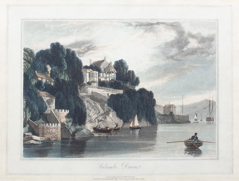 Salcombe Devon by William Daniell antique print for sale