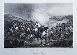 Death of General Cathcart       at the Battle of Inkermann - Siege of Sebastapol antique engraving