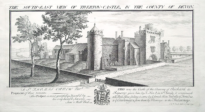 Tiverton Castle engraving by Samuel and Nathaniel Buck