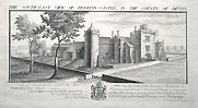 Tiverton Castle - original engraving by Samuel and Nathaniel Buck