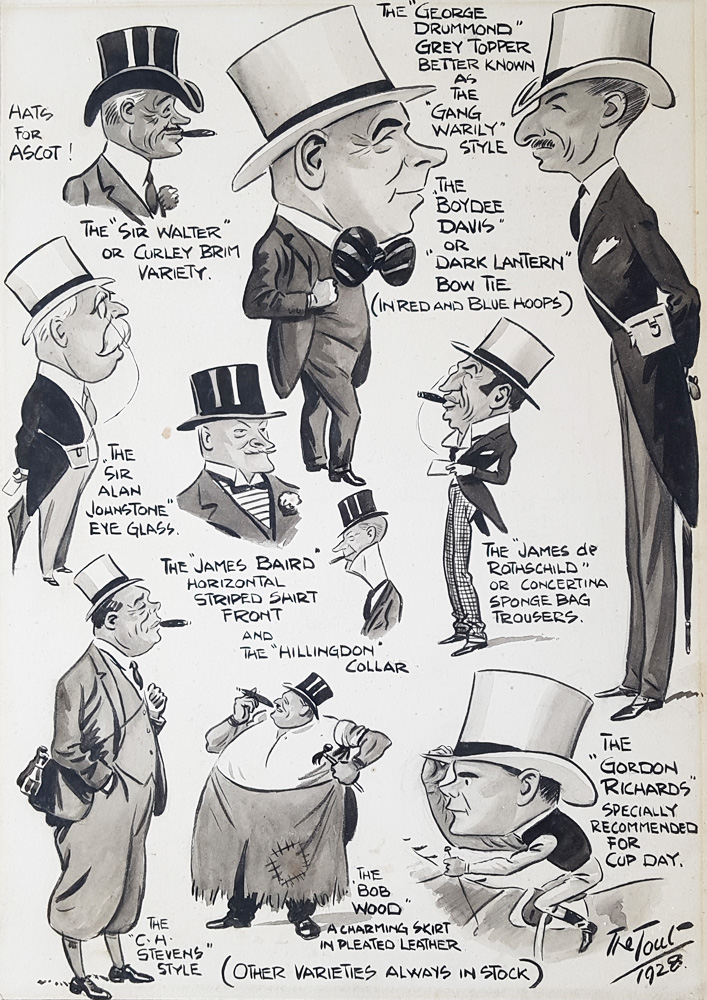 Hats for Ascot Races 1928 Caricature by Tout