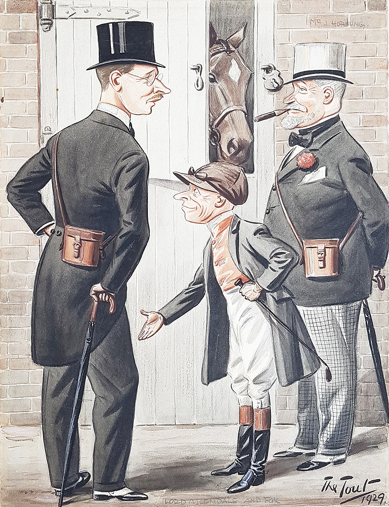 Lord Allendale and Jockey Freddy Fox Caricature by Tout