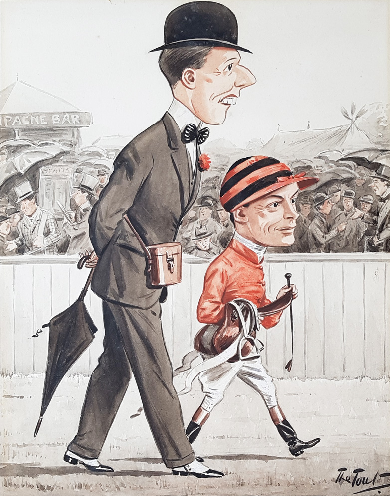 Mr Harry Morriss and Jockey Steve Donoghue Caricature by Tout