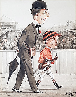 Tout horse racing caricature - St Ledger