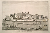 Tower of Lindon - 18th century original antique engraving