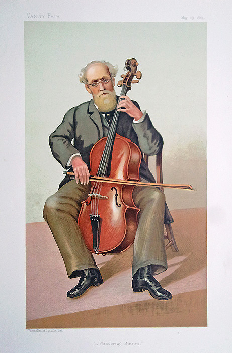 Musician playing Cello - old print