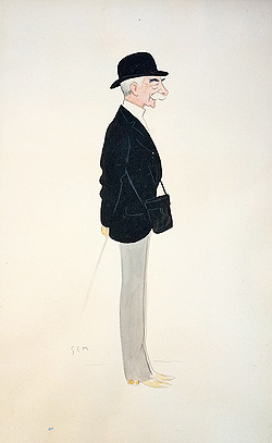Hall Walker racehorse owner antique caricature