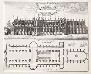 Windsor Castle St Georges Chapel engraving by Wenceslaus Hollar